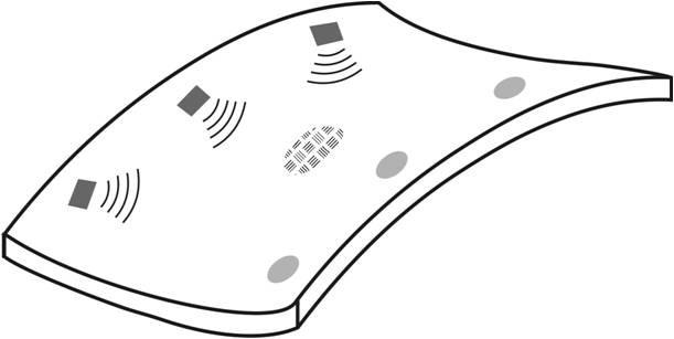 Sender und Detektoren auf einer Faserverbundplatte